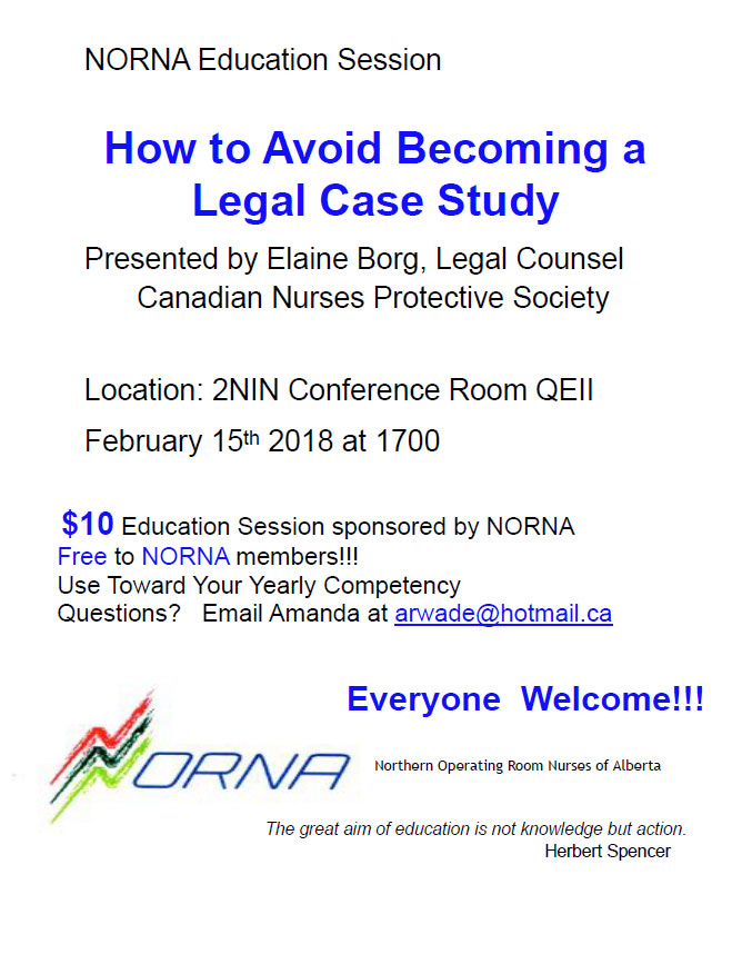 2018 NORNA Spring Education Session, February 15, 2018 at 1700hrs
