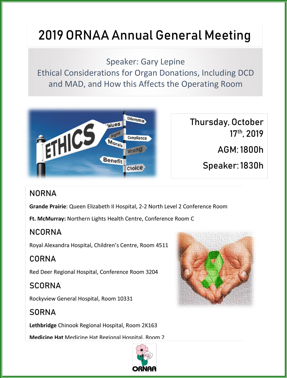 2019 ORNAA AGM, Thursday October 17